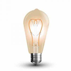 LED Крушка - 5W E27 Long Filament Златно Стъкло ST64 2200K
